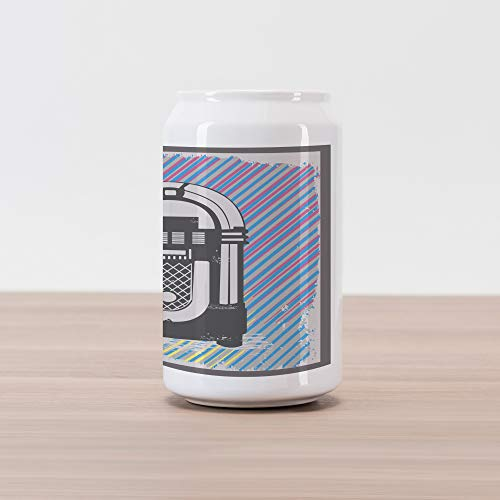 Ambesonne Jukebox Cola Can Shape Piggy Bank, Radio Party Dark Grey Vintage Music Box with Abstract Grunge Colorful Stripes Image, Ceramic Cola Shaped Coin Box Money Bank for Cash Saving, Multicolor