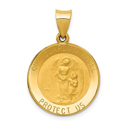 14k Yellow Gold Guardian Angel Medal Pendant Charm Necklace Religious Fine Jewelry Gifts For Women For Her