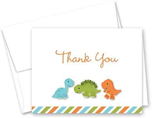 MyExpression.com 50 Cnt Dinosaur Baby Shower or Kids Birthday Thank You Cards