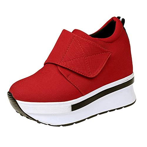 ASO-SLING Women's Platform Wedge Sneakers Hidden High Heels Casual Comfortable Hook&Loop Increased Height Walking Shoes