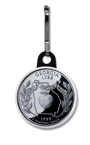 GEORGIA State Quarter Mint Image 1 inch Zipper Pull Charm