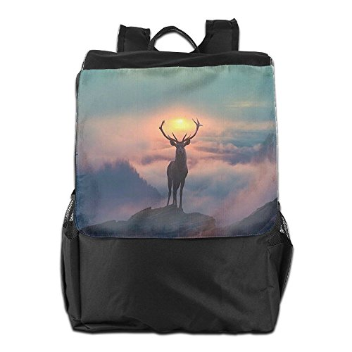 HSVCUY Personalized Outdoors Backpack,Travel/Camping/School-Deer With Sunset Adjustable Shoulder Strap Storage Dayback For Women And Men