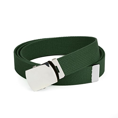 anvas Webbing Belts for MEN'S–Polished Silver Buckle – Universal Heavy Duty Adjustable KEEP PANTS SNUG WITHOUT IRRITATING your skin-Hunter ()