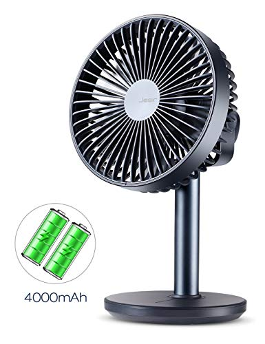 Price comparison product image Battery Operated or USB Powered Desk Fan with 4000 mAh Battery,  Portable Table Fan with 4 Speeds,  Quiet Operation,  Adjustable Tilt,  Enhanced Airflow,  for Bed,  RV,  Camping, Office-Dark Blue,  6 Inch