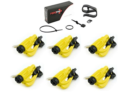 Resqme 6 Pack (Yellow) Resqme Car Escape Tool Plus One (1) FREE VISOR CLIP & LANYARD ACCESSORY PACK, The Original Keychain Car Escape Tool Made In USA - Window Glass Breaker & Seat Belt Cutter