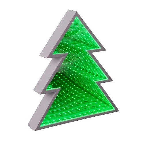 LED Christmas Tree Night Light Table Lamp Battery Operated Infinity Mirror Led Lamp 3D Marquee White Plastic Table Lamp for Home, Wall, Desk, Shelf, Table, Dresser Decoration (Cordless Christmas Tree Lights)