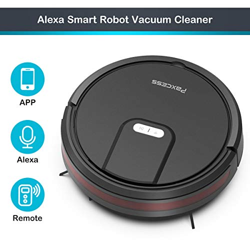 Paxcess Robotic Vacuum Cleaner, Wi-Fi Connected with 1800Pa Powerful Suction, 120 Min Run Time, Super Quiet Self-Charging Automatic Smart Robot Vacuum, Remote & App Control, Works with Alexa