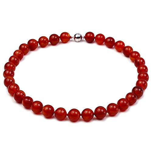 JYXJEWELRY Classic Red Agate Necklace 12mm Smooth Round Natural Agate Beads Choker Single Strand Jewelry for Women 17