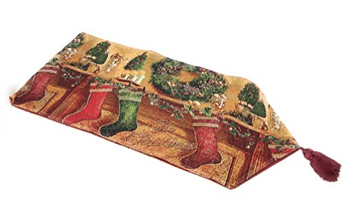Tache Festive Holiday Elegant Decorative Christmas Stockings Hung with Care Tapestry Table Runner, 13 x 54