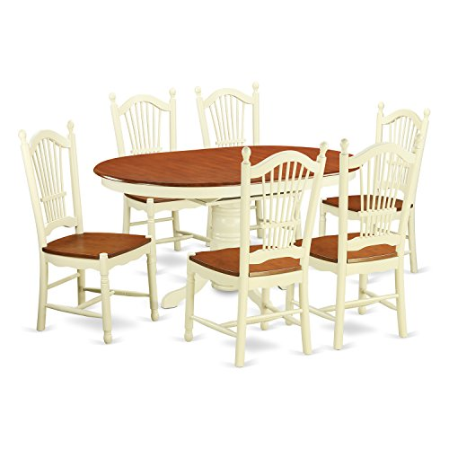 East West Furniture AVDO7-WHI-W 7 Piece Kitchen Dinette Table and 6 Chairs