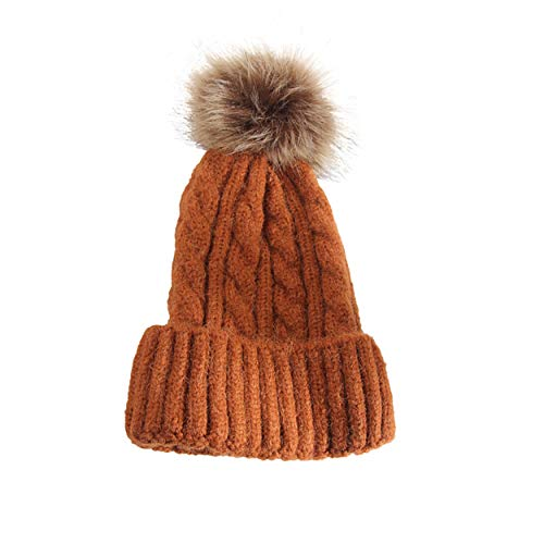 9d03a9b5832 Galleon - Womens Girls Knitted Fur Hat Real Large Silver Fox Fur Pom Pom  Beanie Hats Parent-Child Cap Caramel Adult