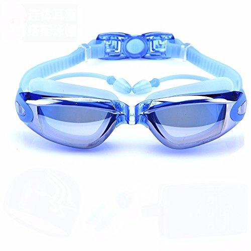 LXKMTYJ Lunettes de natation HD anti-buée hommes et femmes grand cadre anti-buée adultes bouchons doreilles conjoints, bleu