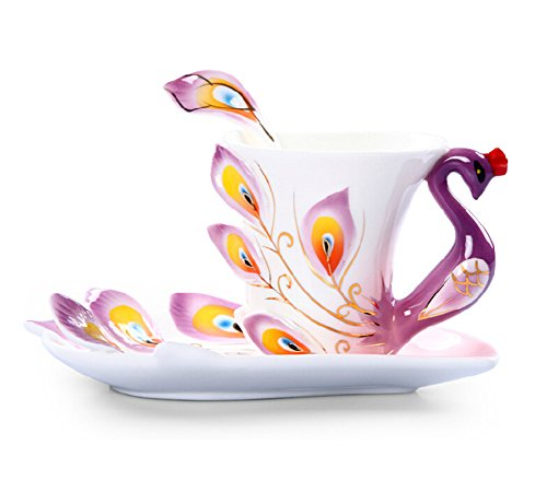 Moyishi Hand Crafted Porcelain Enamel Delicate Peacock Tea Coffee Cup Set with Saucer and Spoon Purpel (6