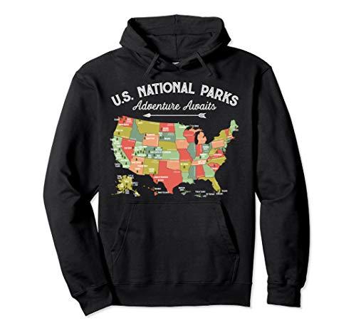National Parks Hoodie Map Camping Tshirt Women Men Hiking
