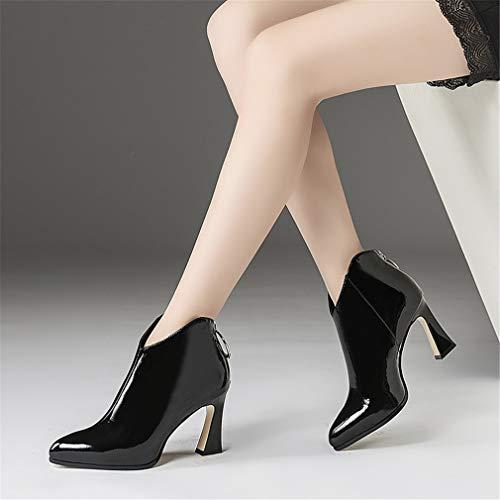 Zapatos Cuero La Mujer Altos Tacones Moda Para Yan Puntiagudos Otoño Botas Noche Invierno De Botines Fiesta Negro Ásperos Bodas Y TECnpxq