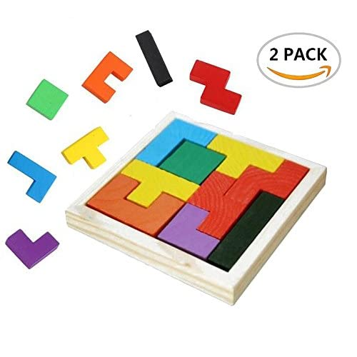 2 Pack Fireboomoon Wooden Tangram Jigsaw Tetris Puzzle Toy, Educational Game (18 Pieces), Sorting Board Colorful Educational Gift.