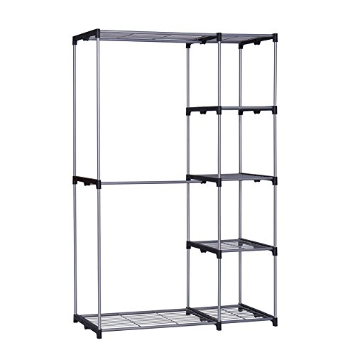Garment Freestanding (Homebi Freestanding Closet Organizer Double Rod Garment Rack Metal Wire Shelving Unit Clothing Organizer with Double Hangers and 5-Tier Shelves in Silver, 45.3