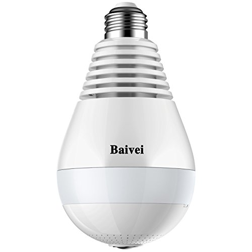 Baivei 960P Wireless WiFi IP Panoramic Bulb Camera 360 Degrees Fisheye Lens For Home Security System Pet Monitor&Baby Camera,Two Way Talking,Motion Detection(White) (Internet Remote Intercom)