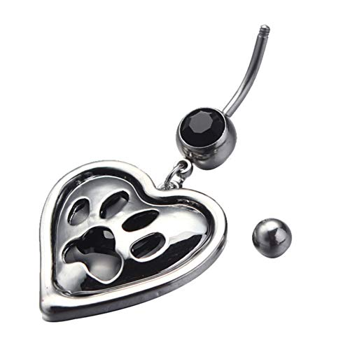 (Kosaire Stainless Steel Heart-Shaped Dog Paw Prints Navel Ring Belly Button Nail Body Decoration)