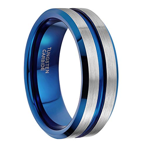 8mm Mens Silver Blue Tungsten Ring with Thin Blue Inlay Groove Beveled Edge Comfort Fit Size 6-14 (8mm Blue Silver, 13.5) ()