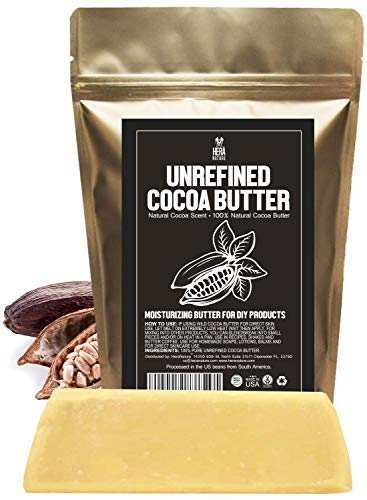 Raw NATURAL COCOA (CACAO) BUTTER BLOCK Best Quality Rich Natural Chocolate Aroma For Lip Balms, Stretch Marks, DIY Base for Body Butter & Soap Making (USA) - 1/2 lb (8 oz)