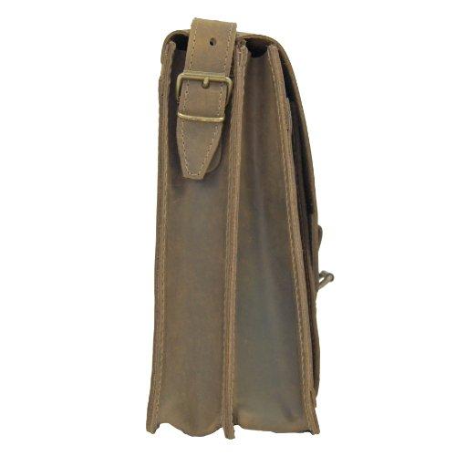 Umhängetasche FREIHERR VON MALTZAHN aus BIO-Leder mit Schulterpolster, Made in Germany + Lederpflege