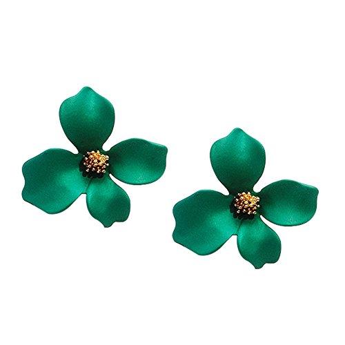 Date Green Earrings - hbz11hl Women's Earrings&Fashion Girls Flower Ear Studs Women All-Match Date Party Travel Earrings Gift - Green