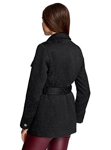 oodji Ultra Mujer Abrigo de Jacquard Recortado Negro (2900N)