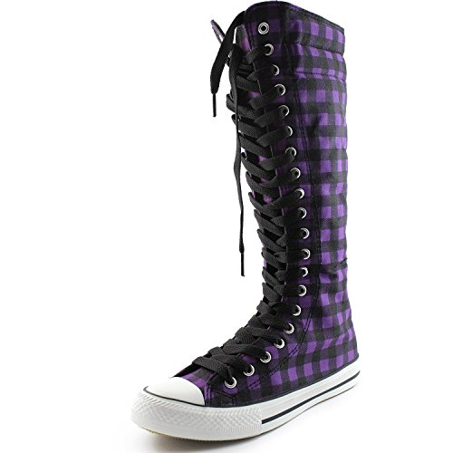 New Fasion Women Canvas Sneakers Punk flat Skatter Knee High Lace up Shoes Purple/Black Plaid jB1Nw1H
