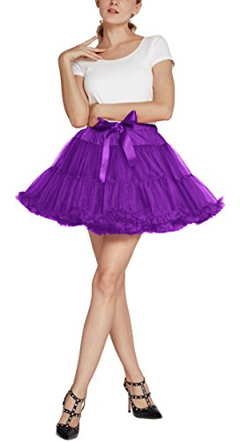 Urban CoCo Women's Petticoat Fancy Tutu Skirt Ballet Crinoline Underskirt (L, Grape) by Urban CoCo (Image #1)