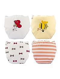 Skhls Little Girls Cute Cartoon Pocket Cloth Diapers Cover,4pcs-girl,L(6-12m)