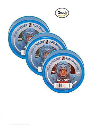 Milrose 70886 Blue Monster 3/4 Inch x 1429 Inch MDPE Blue Teflon Tape (3 (Teflon Tape Manufacturers)