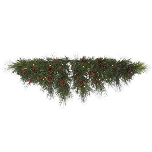 Vickerman G154212LED Big Cascade Pine Swag with 296 PVC Tips, Pinecones, Berries & 100 LED Italian Single Mold Lights On Wire, 72