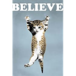 Believe Cat Poster Art Print Wall Poster 20-Inch by 30-Inch