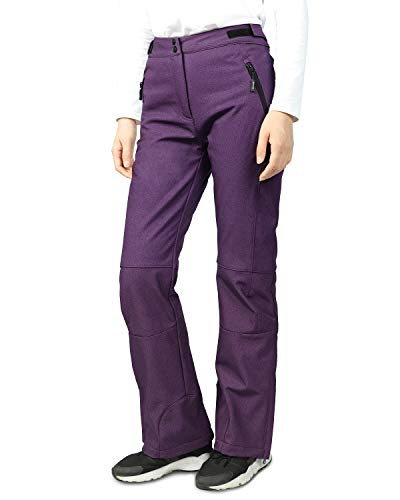 Purple Snow Pants - Outdoor Ventures Women's Sleek Waterproof Softshell Fleece Lined Ski Snow Insulated Pants with Bottom Zipper