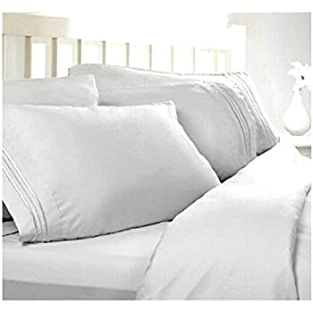 Superior Twin XL Extra Long Sheets: White, 1800 Thread Count Egyptian Bed Sheets,  Deep