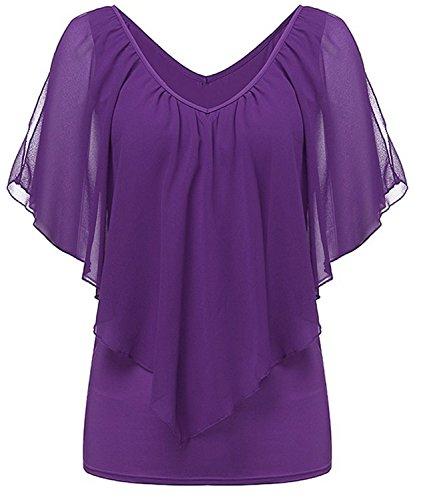 Camiseta Mujeres Verano YOGLY Camisetas de Gasa Casual Color Sólido Cuello Redondo V Cuello Sin Mangas Camisetas Blusas Morado