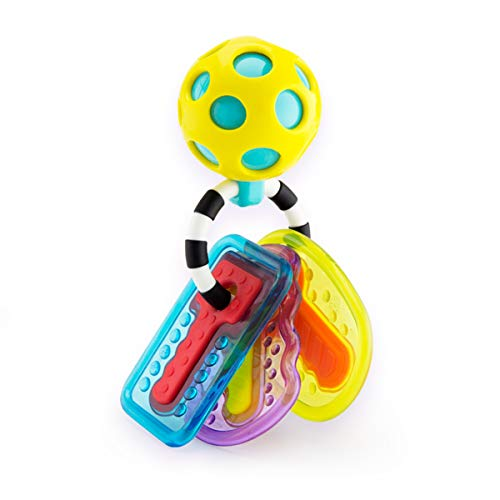 Sassy Drool & Chew Keys with Rattle Key Chain and 3 Teether Keys, Age 0+ - Teether Sassy