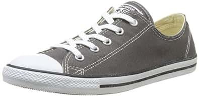 Converse Women's DAINTY CANVAS LOW TOP Shoe, charcoal, 5 M US
