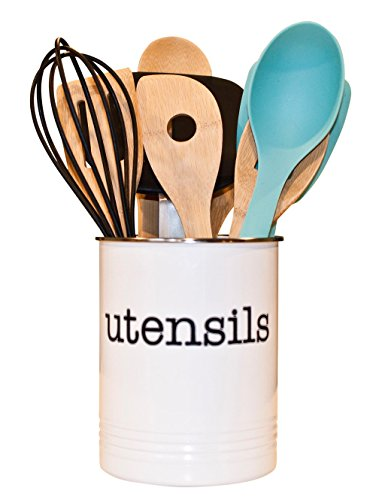 White Utensil Holder - Kitchen Utensil Crock to Organize Your Kitchen Gadgets and Cooking Gadgets and Utensils