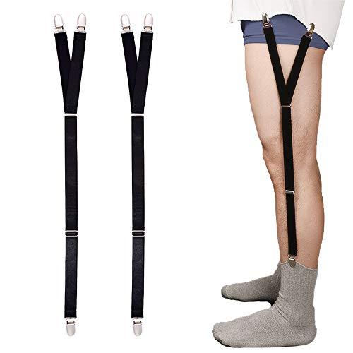 Mens Shirt Stays Military Adjustable Elastic Garter Straps Sock Non-slip Clamps -