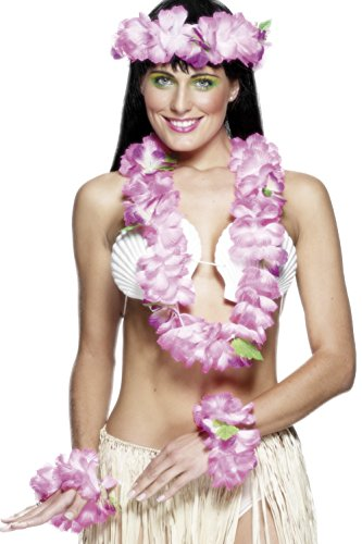[Smiffy's Women's Hawaiian Set, Garland, Headband and Wristband, One Size, Pink, 22499] (Hawaiian Costumes For Adults)