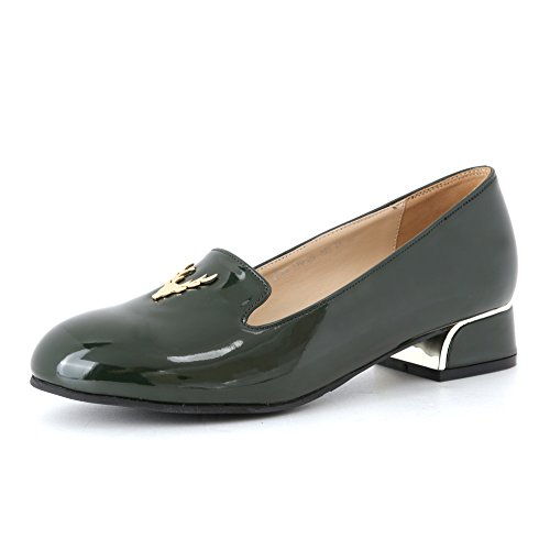 Mocassino Nero Sitbon Donna Smalto Antler Loafer Verde Scuro