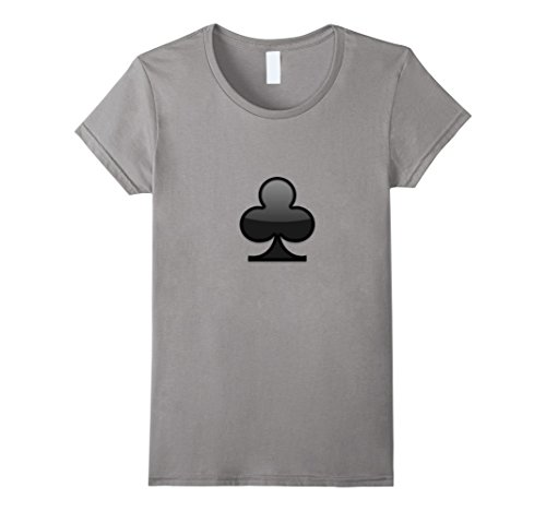 Women's Clubs Ace Symbol Playing Card Sign Poker Shape T-Shirt Medium Slate