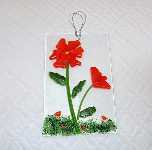 Orange Fused Glass Flower Sun Catcher