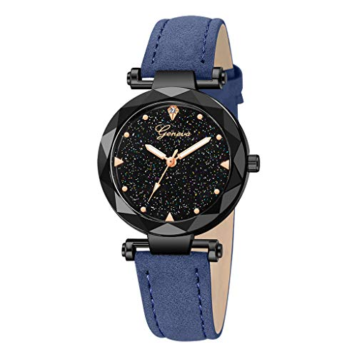 Londony✡Women's Watches Leather Rhinestone Inlaid Quartz Jelly Wristwatch Geneva Chronograph Watch with Crystals -
