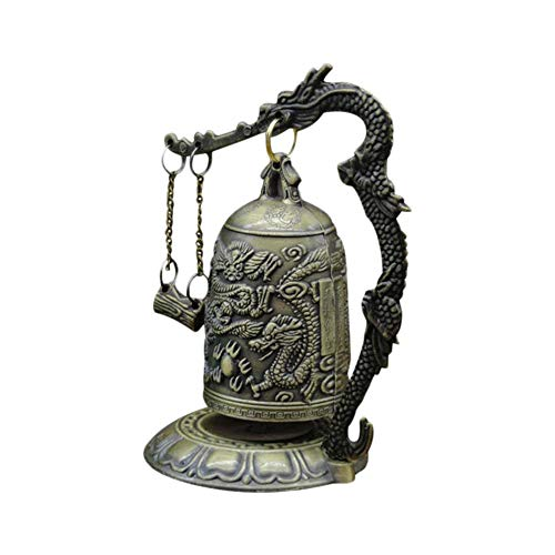 Dragon Toy - Small Carved Bronze Lock Monk Chime Chinese Dragon Bell Arts Crafts Collectibles Home Living Decor - Sketching Collection Boys Ornaments Storage Software Decorative Puzzle Fold ()