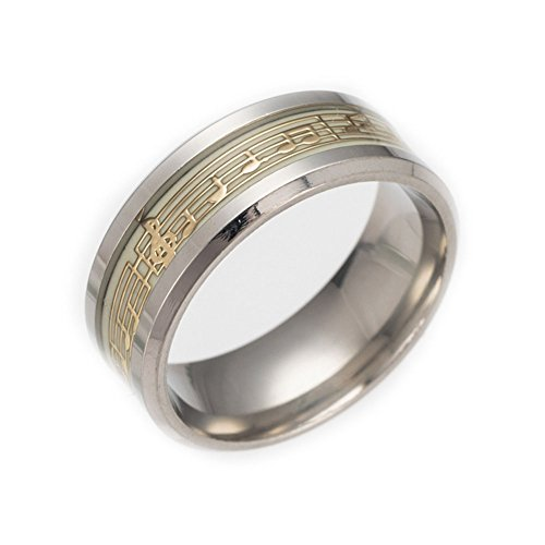 Wedding Music Ring - JAJAFOOK Men 8mm Wide Luminous Effect Stainless Steel Music Piano Ring Glow in The Dark(Gold)