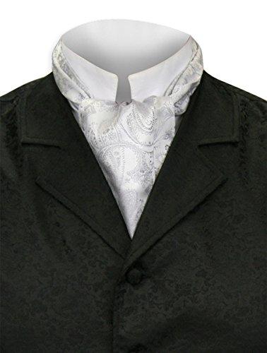 (Historical Emporium Men's Satin Paisley Ascot Silver)
