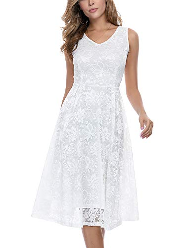 Noctflos White Lace V Neck Fit & Flare Midi Cocktail Dress for Women Party Wedding Graduation (Large)